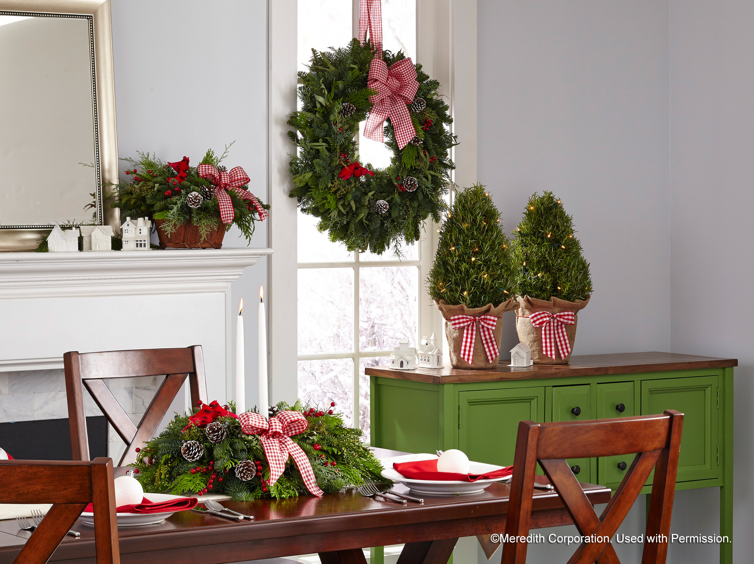 wreath centerpiece and trees for Christmas