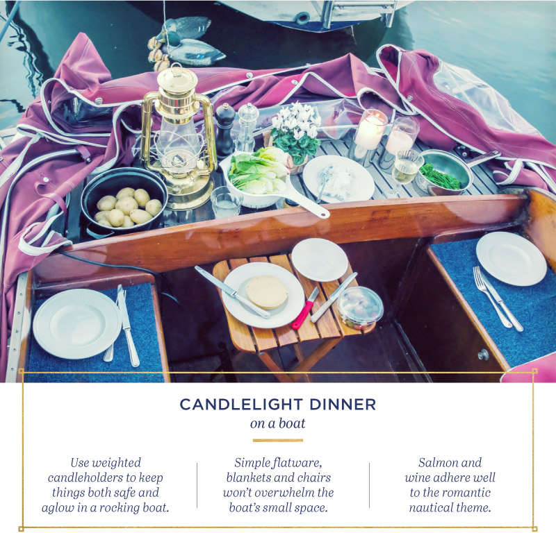 Candlelight dinner on a boat