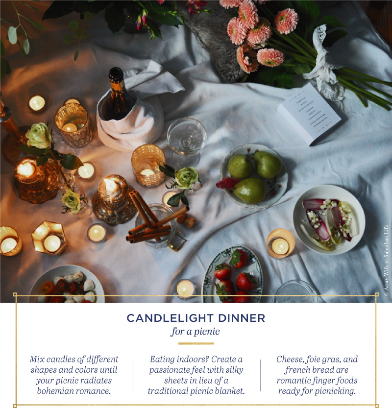 Candlelight dinner picnic