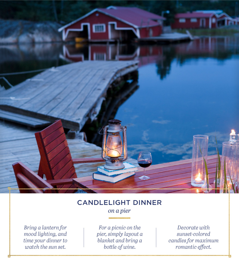 Candlelight dinner on a pier