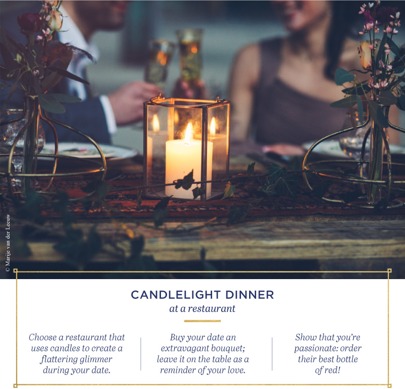 Candlelight dinner at a restaurant