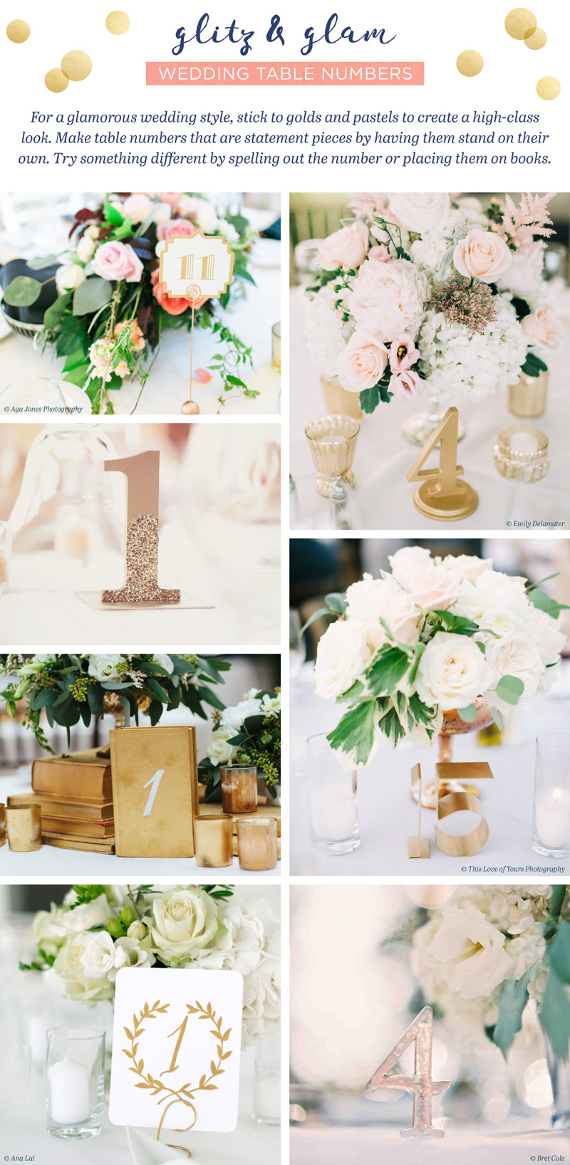 glam wedding table numbers
