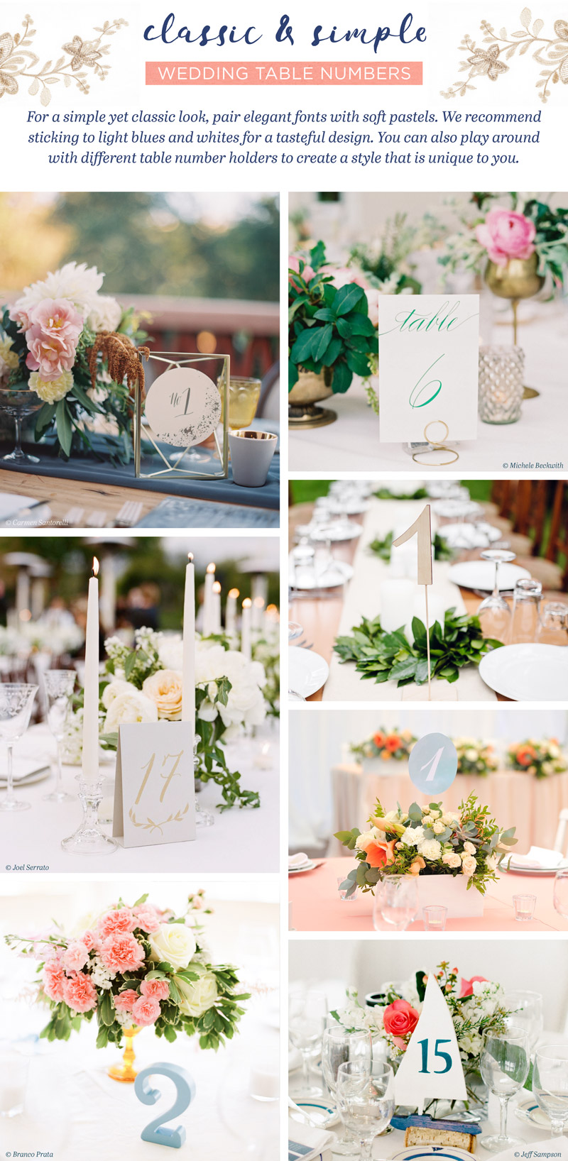 classic wedding table number ideas