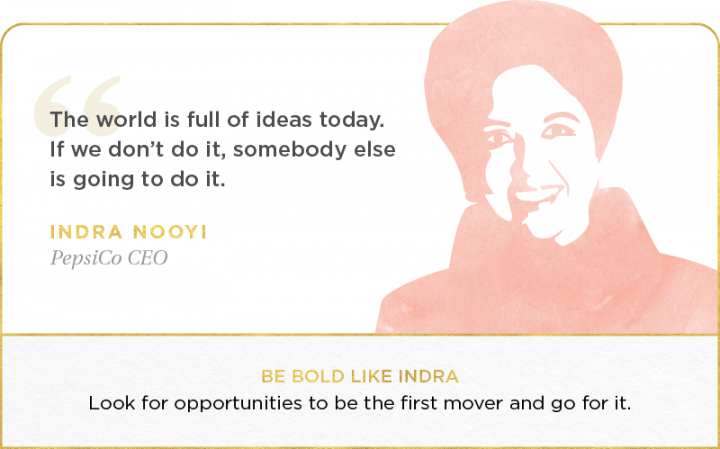 indra nooyi pink illustration with quote.