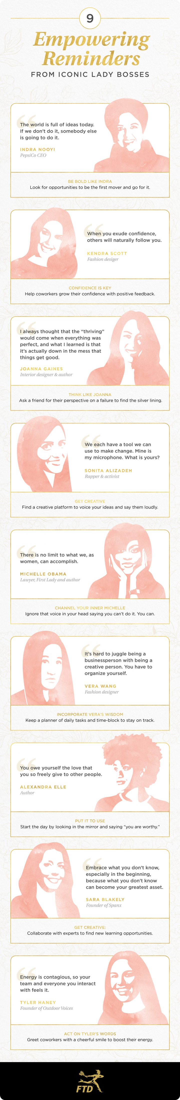 pink and gold quotes from inspirational women.