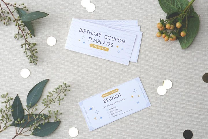 birthday coupons for bff with greenery and dots.
