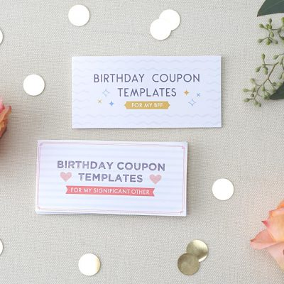 birthday coupons for significant others and for bffs with flowers and dots.