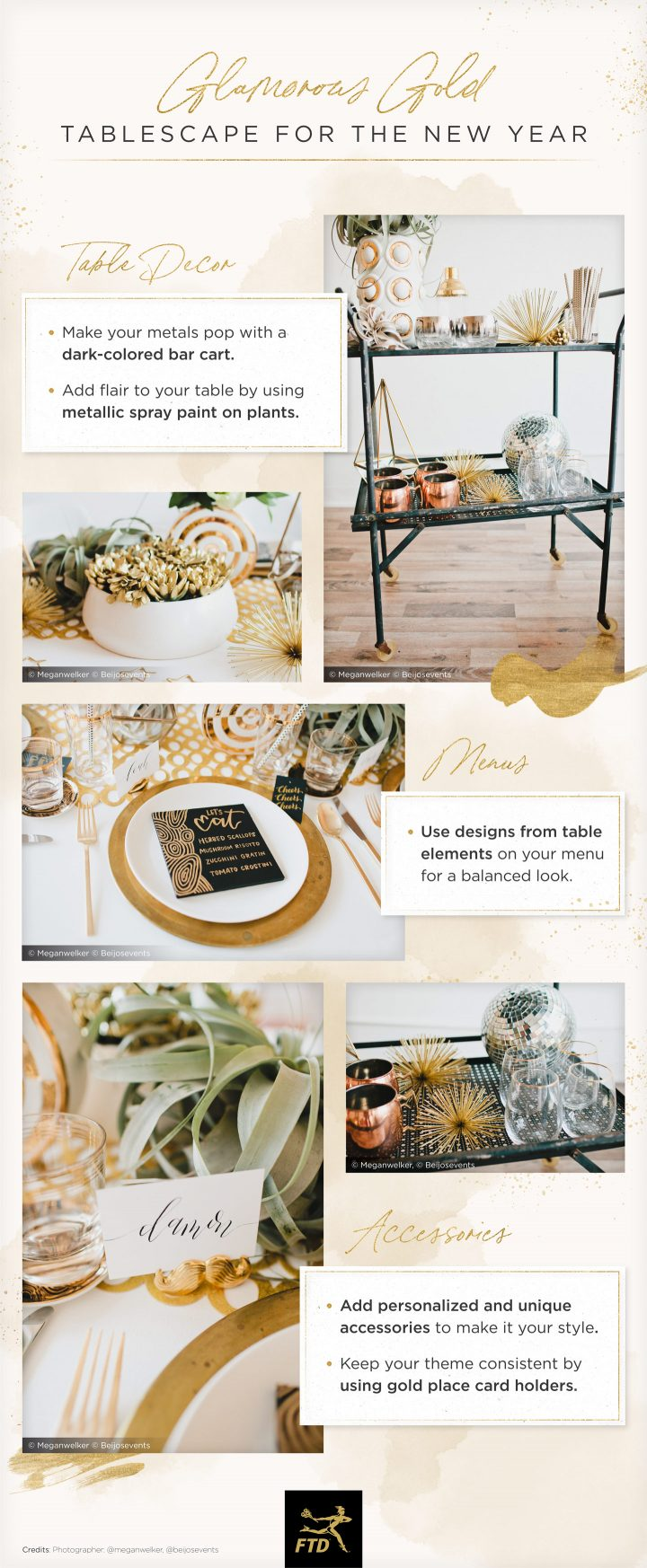 friendsgiving tablescape ideas with gold elements.