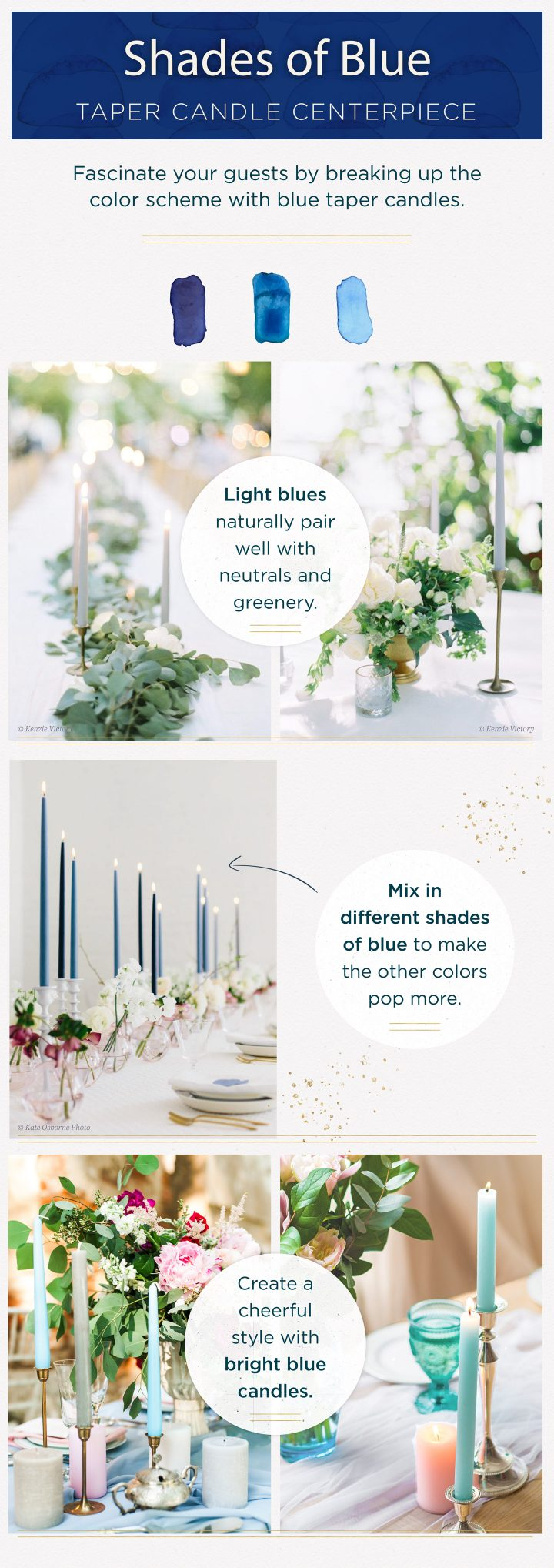 taper candle centerpieces shades of blue