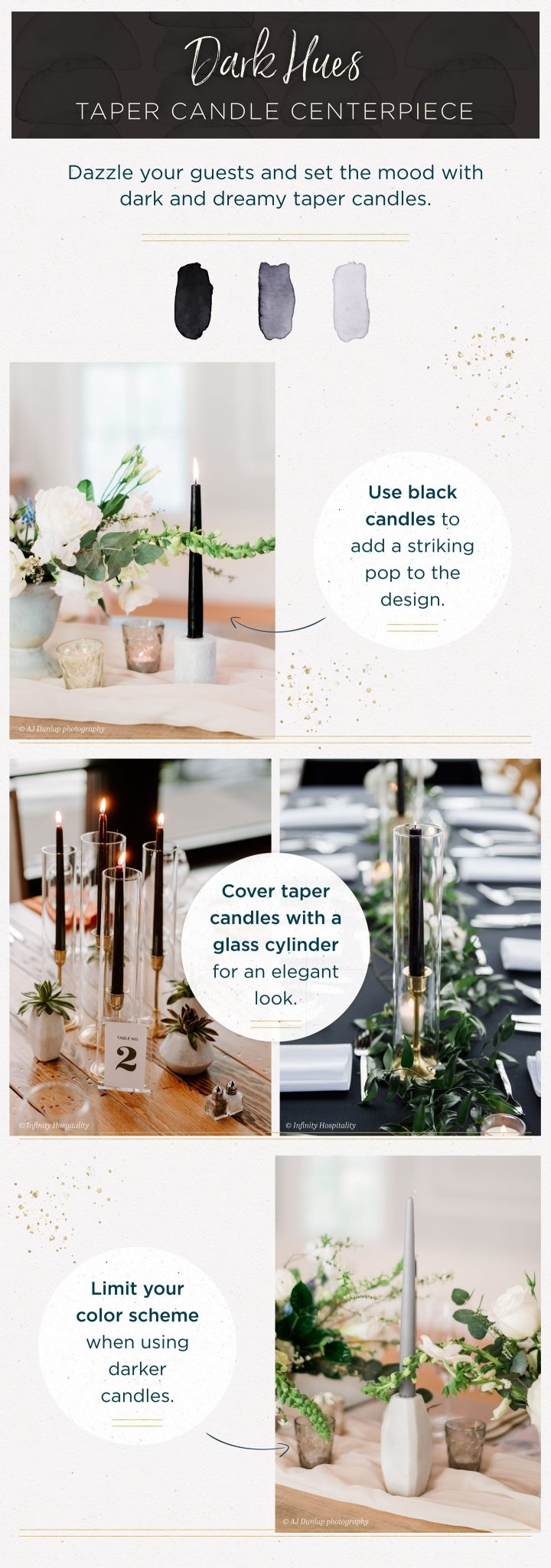 taper candle centerpieces dark hues