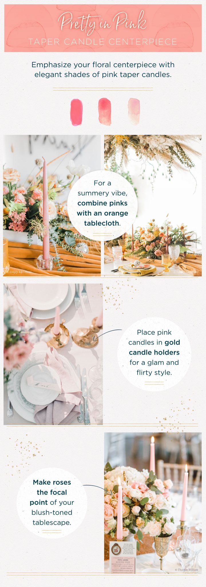 taper candle centerpieces shades of pink