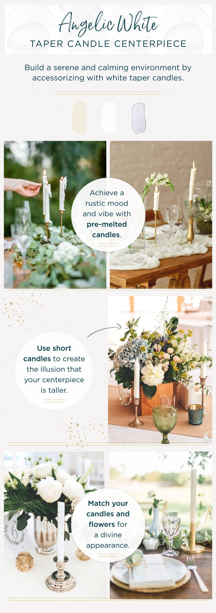 taper candle centerpieces shades of white