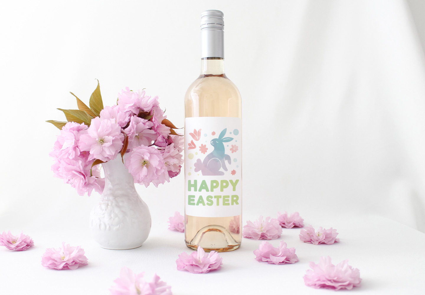 easter wine label with pink flowers