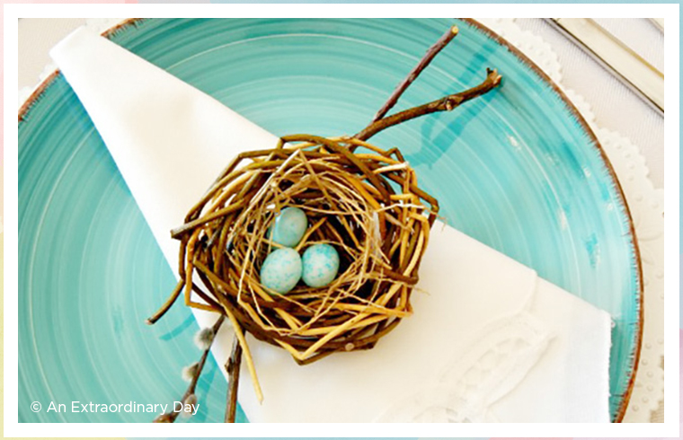 blue birds nest place setting