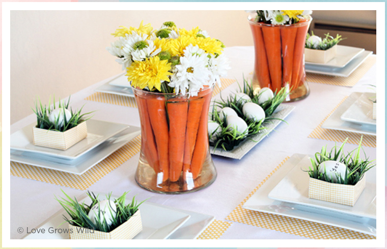 floral centerpiece with carrots