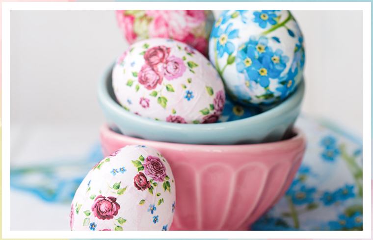 pink and blue decopauge eggs