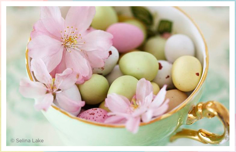 easter eggs in a tea cup