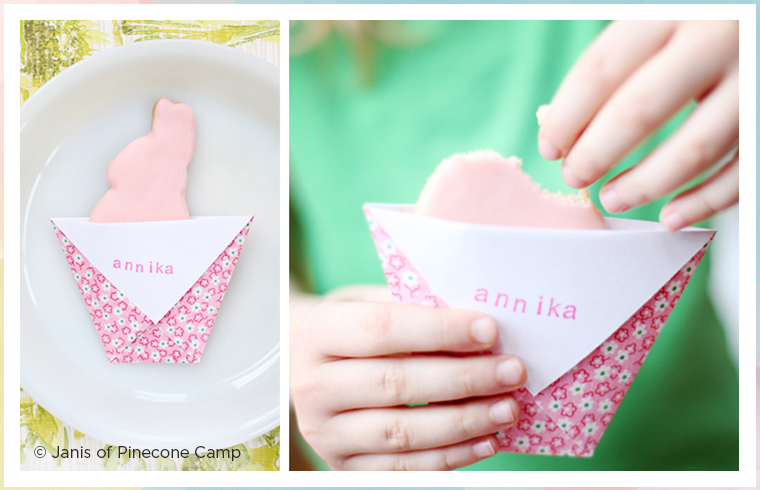 pink easter place card