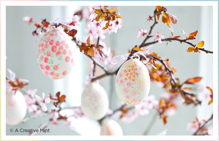 floral painted easter eggs