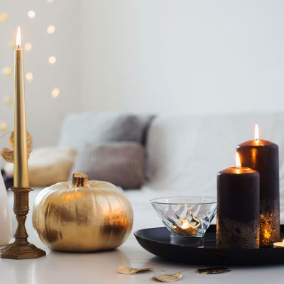 halloween candle and pumpkin decoration