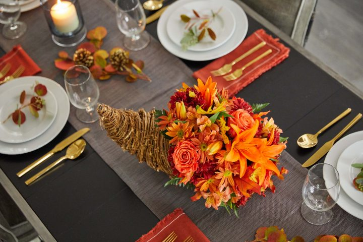 Beautiful Thanksgiving Cornucopia Centerpiece
