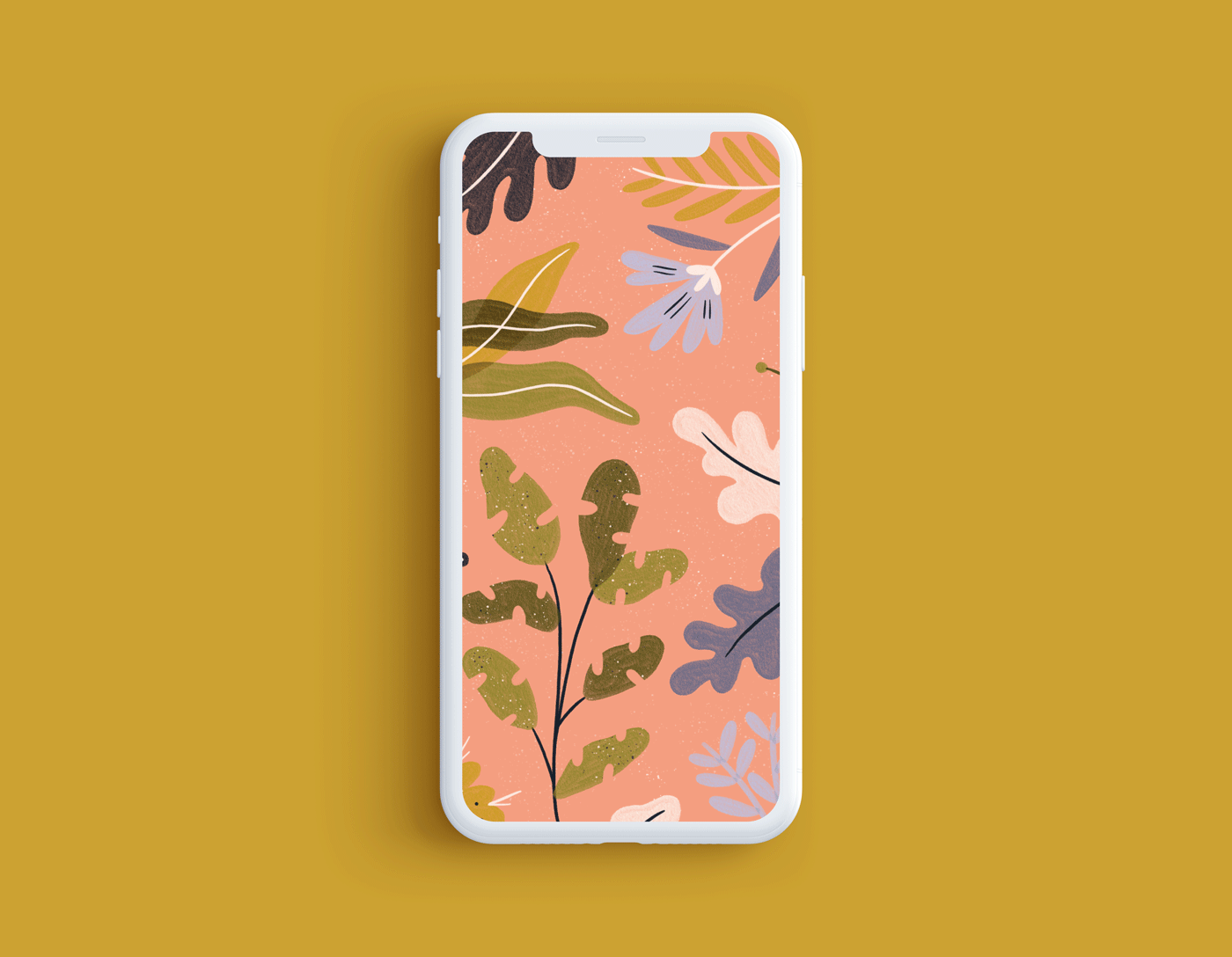 tropical plant wallpaper on yellow background