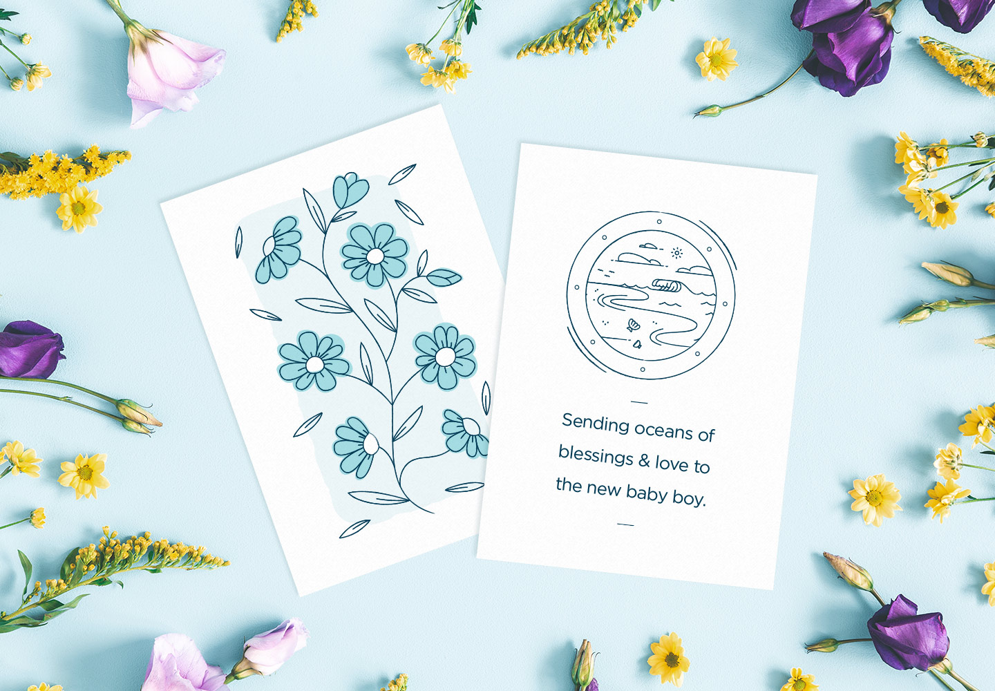 new baby boy cards on a blue background with flowers