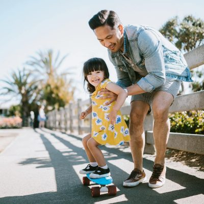 father and child in summertime