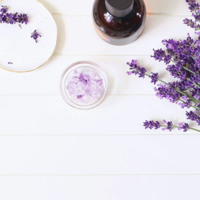 picture of lavender and essential oil on table