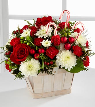 Christmas Flowers - The FTD Candy Cane Lane Flower Bouquet - Basket Included