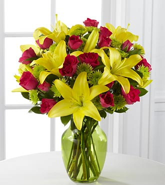The Sunlit Celebration Birthday Flower Bouquet – 12 Stems – Vase Included