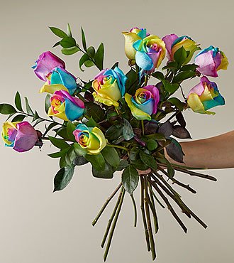 Time To Celebrate Rainbow Rose Flower Bouquet - 12 Stems, No Vase