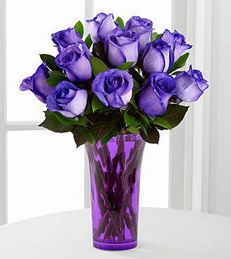 Popping Purple Fiesta Rose Flower Bouquet - 12 Stems - Vase Included