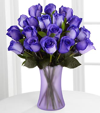 Popping Purple Fiesta Rose Flower Bouquet - 18 Stems - Vase Included