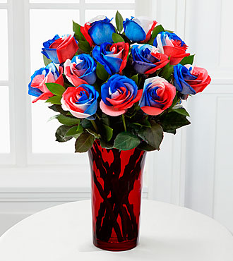 Patriotic Flowers - Bless The U.S.A. Fiesta Rose Flower Bouquet - 12 Stems - Vase Included - 4Th Of July Flowers And Fourth Of July Gifts