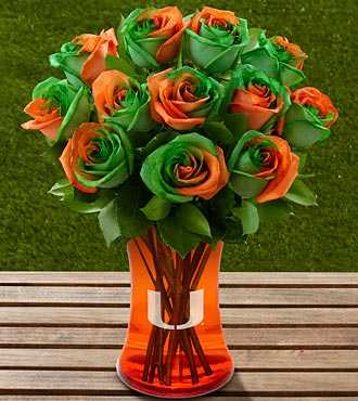Graduation Flowers - The FTD University Of Miami Hurricanes Rose Flower Bouquet - 12 Stems - Vase Included