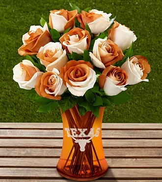 The FTD University Of Texas Longhorns Rose Flower Bouquet - 12 Stems, No Vase