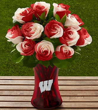 The FTD University Of Wisconsin Badgers Rose Flower Bouquet - 12 Stems - Vase Included