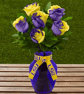Graduation Flowers - The FTD Louisiana State University Tigers Rose Flower Bouquet - 6 Stems - Vase Included