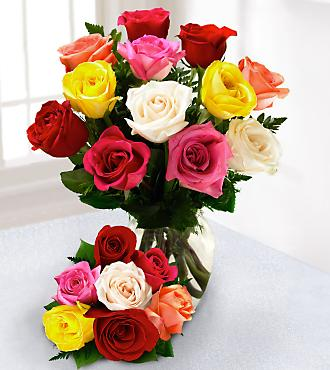 One Dozen Mixed Roses with 6 Bonus Stems with FREE Vase