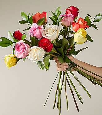 Valentine's Day - Sunshine Romance Valentine Rose Flower Bouquet - 12 Stems Of 16-Inch Roses - Vase Included