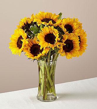 Endless Summer Sunflower Flower Bouquet - 12 Stems - Vase Included