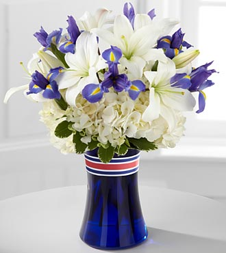 Patriotic Flowers - Land Of Liberty Flower Bouquet - 14 Stems - Vase Inlcuded - 4Th Of July Flowers And Fourth Of July Gifts