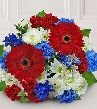 Patriotic Flowers - Let Freedom Ring Flower Bouquet - 4Th Of July Flowers And Fourth Of July Gifts