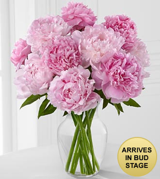 Picture Perfect Peony Flower Bouquet - 10 Stems - Vase Included