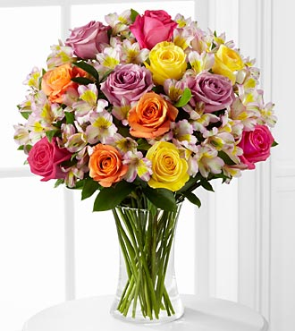 Graduation Flowers - Colorful Connection Flower Bouquet - 26 Stems - Vase Included