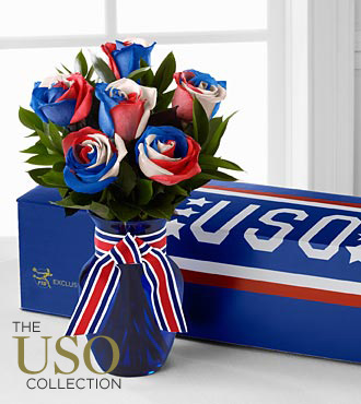 Patriotic Flowers - Perfect Patriot Fiesta Rose Flower Bouquet - 6 Stems - Vase Included - 4Th Of July Flowers And Fourth Of July Gifts