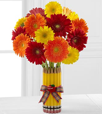 Back To School Best Gerbera Daisy Flower Bouquet - 15 Stems - Vase Included