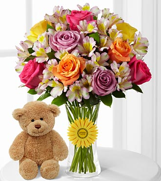 "Happy Birthday Smiles ""Singing"" Flower Bouquet With Bear – 20 Stems – Vase Included"