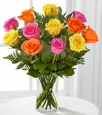 Bright Blush Rose Flower Bouquet - 12 Stems Of 16-Inch Roses - Vase Included